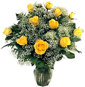 Perfect YELLOW Roses, in a cear base, greens and white fillers special Roses Arrangement for Valentine and Romance for an exigent lady... We have a complete Online Flowers Selection for Anniversary, Birthday, Romance, Get well soon, New born, Funeral, Sympathy, Thanksgiving, Christmas, Mother's day, Father's day, Secretary, Boss, Easter, Spring and our fantastic Miami Tropical and Exotic flowers arrangements